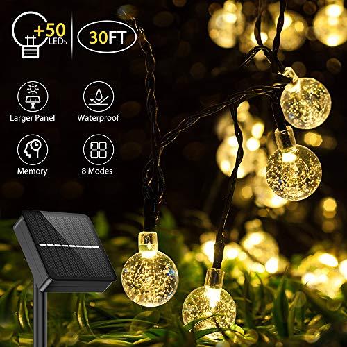 Catena Luminosa Esterno Solare, Aerb Aggiornato 50 LEDs 30ft Luci da Giardino con Pannello Solare Più Grande IP65 Impermeabile per Interni Terrazzo Balcone(Bianco caldo)