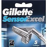 Gillette Sensor Excel Cuchillas de Afeitar Hombre, Paquete de 5 Cuchillas de Recambio