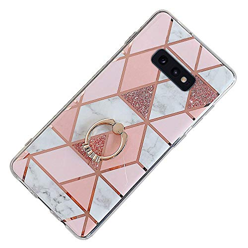 Coque Compatible avec Samsung Galaxy S10e Support Bague Marbre Bord D'or Ultra Mince Souple TPU Silicone Motif Gel Placage Couture Protection Housse Anti-Rayures Antichoc Cover Bumper,Rose Clair