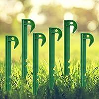 プラスチック製の10個の庭の固定ペグ固定ペグアースソッドステープル雑草バリア固定ペグ