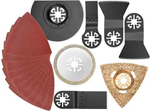 COM-FOUR® 17-delige multitool-accessoireset voor multifunctioneel gereedschap, segmentzaagblad, invalzaagblad, schraper, schuurdekens met klittenband voor hout en metaal - voor de meest voorkomende multitools (17-teilig - Multitool)