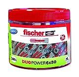 fischer 553306 - Taco intelligente de 2 Components DUOTEC 6 x 30 ROUND BOX (Envase de 300 ud.) Gris/Rouge