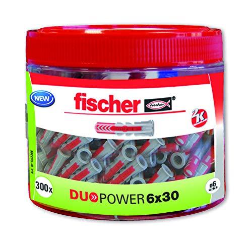 Fischer 553306 Taco nylon, Gris/Rojo, 6 x 30