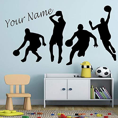 PMSMT Basketball Sport Spielen Basketball Wandtattoo Personalisierte Kinder Jungen Zimmer Vinyl Aufkleber Benutzerdefinierter Name Basketball Star Dekor
