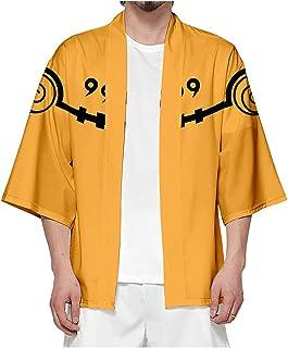 QYIFIRST Men's Women's Hokage Uzumaki Clan Uzumaki Ichizoku Cardigan Cape Coat Kimono Cosplay Costume Yellow L