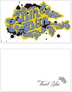 Hip-Hop Rock And Roll Bin Box Pattern Thank You Card Birthday Wedding Business Message Set