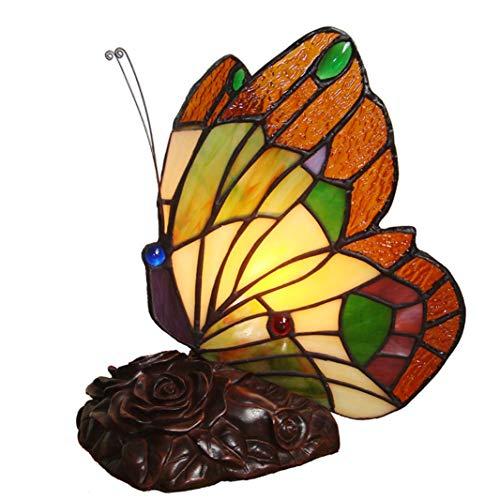 WFTD Tiffany Lampe De Nuit De Style, Papillon À La Main Lumière E14/E12 Lampes Tiffany Lampe Décorative Lumière De Nuit pour Les Enfants