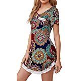 Eaylis Damen Sexy Schlafhemd Kleid Kleid mit V-Ausschnitt und Ärmeln Weiches Nachthemd mit Spitzenbesatz