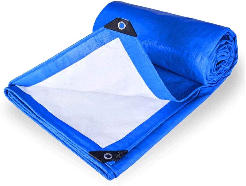 JDKC- wasserdichte Plane, Campingplane, Autoplane, Auenschutz, Sonnenschutz, Reifestes PE-Material (blau Wei) (Größe   8×10m)