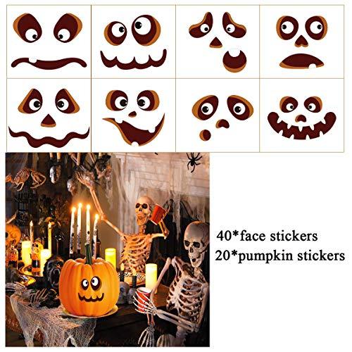 TOYMYTOY Halloween Aufkleber Halloween Kürbis Deko Halloween Kürbis Sticker Pumpkin Party Decoration Kürbis Geformte Aufkleber 20Pcs Gesichtsausdruck Aufkleber 40Pcs