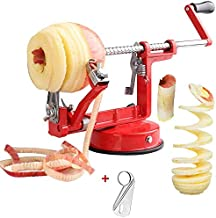 Apple peelers, Apple Peeler Corer Slicer Stainless Steel 3 in 1 Heavy Duty with Suction Grips Base Peelers Apple Pear Potato Applesauce Cider Apple juice Apple Pie Tools Peelers for Kitchen (Red)