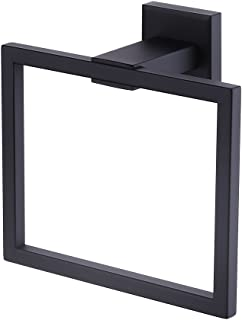 KES Bathroom Towel Ring SUS 304 Stainless Steel Shower Towel Hanger Holder Modern Square Style Wall Mount No Drill Matte Black Finish, A2480DG-BK
