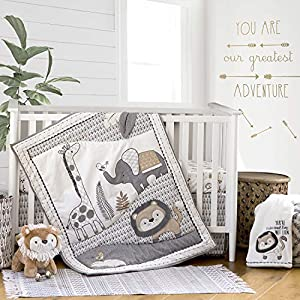 Levtex Baby – Tanzania Crib Set – Baby Nursery Set – Charcoal Cream Tan – Jungle – Giraffe Lion Elephant – 5 Piece Set Includes Quilt, Fitted Sheet, Diaper Stacker, Wall Decal & Bed Skirt/Dust Ruffle