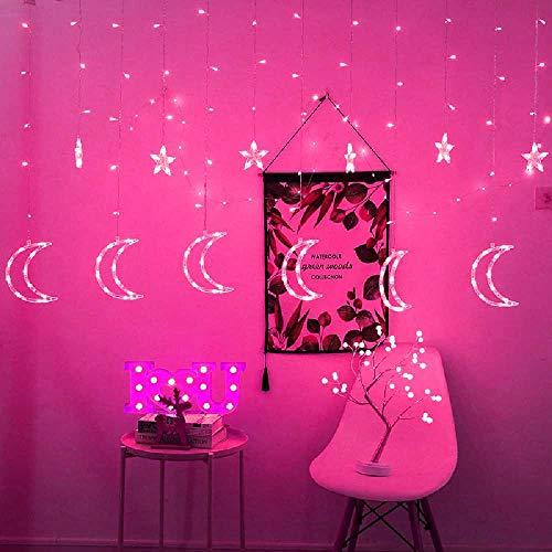 runhai LED Sterne, Mond, Vorhänge, Lichter, Blitze, Mädchen, Romantisches Zimmer, Dekorative Weihnachtsbeleuchtung, Vier Farben. Farben