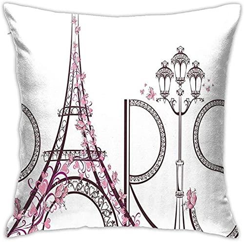 Paris City Decor Collection - Funda de almohada decorativa con texto en inglés 'Tower Eiffel con texto en París' (45,7 x 45,7 cm), diseño floral