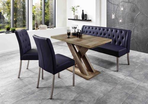 Moebelstore24 zitgroep tafelset Manchester tafel + zitbank + 2 stoelen donkerblauw wildeiken decor