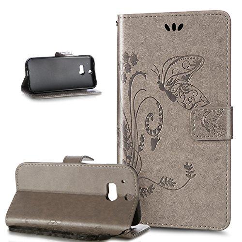 Kompatibel mit HTC One M8 Hülle,HTC One M8 Schutzhülle,ikasus Prägung Groß Schmetterling Blumen Muster PU Lederhülle Flip Hülle Cover Schale Ständer Wallet Hülle Schutzhülle für HTC One M8,Grau