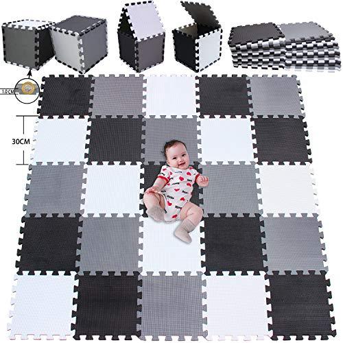 MSHEN 25 Stück Puzzlematte | Kälteschutz,abwaschbar Kinderspielteppich Matte | puzzlematte Baby Trainingsmatte.Größe 2,01 Quadrat.Weiß-Schwarz-Grau-ADLg25