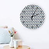 Peacock Decor Wall Clock Quiet Non-Ticking, 12' Wooden Clock Battery Operated for Living Room, Office, Home Decor & Gift Peacock Feathers Boho Style