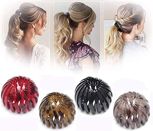 4Pcs 2020 Fashion Retro Leopard Print Hairstyle Headbands,Bird's Nest Hair Bands,Expandable Ponytail Holder Clip, Vintage Geometric Hair Bands For women