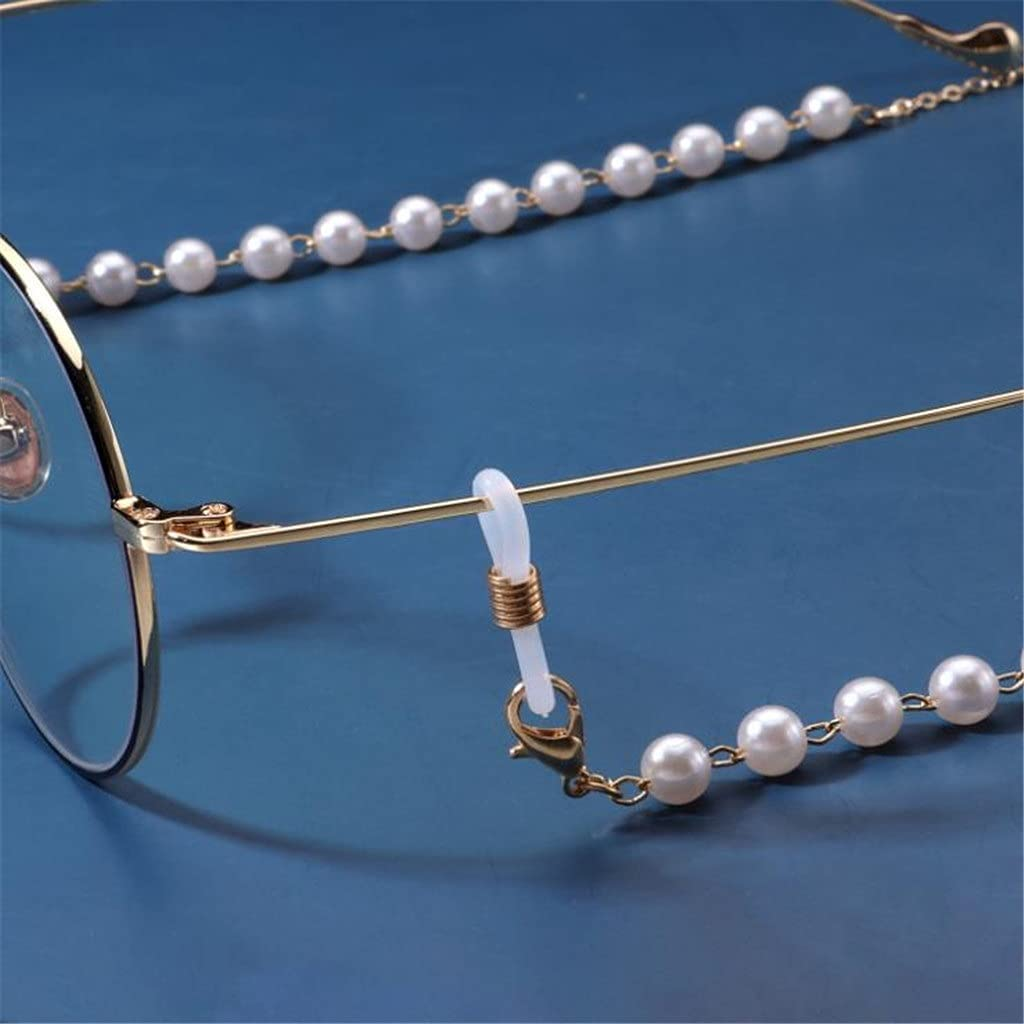 SSMDYLYM Reading Glasses Chain for Women Sunglasses Cords Casual Pearl Beaded Eyeglass Chain (Color : A, Size : Length-70CM)