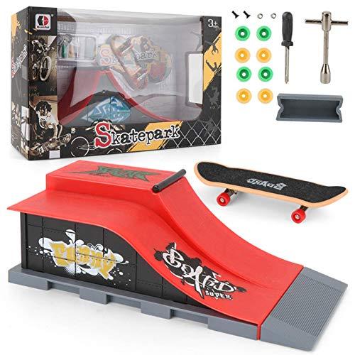Mini Finger Spielzeug, Finger Skateboard Mit Skatepark, Finger Skateboard Parks Parkour Halfpipe, Finger Bike Rampe(1Rampenteil, 1 Skateboard Und 1 Satz Zubehör)
