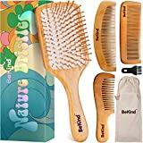 Bekind Nature Bristles (4 pcs) Wooden Hair Brush Paddle Detangling and Hair Comb Kit with Wooden...