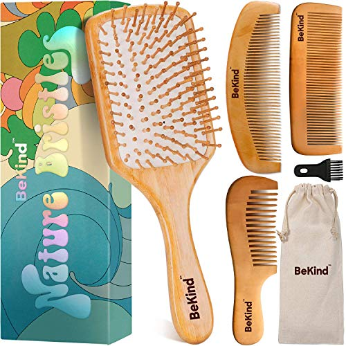 BeKind Nature Bristles (4 pcs) Wooden Hair Brush Paddle Detangling and Hair Comb Kit with Wooden Bristles Scalp Massager Bamboo Comb Gift Set Unisex Hair Brushes Gifts for Women, Gift Bag Included