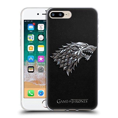 Head Case Designs Licenza Ufficiale HBO Game of Thrones Argento Stark Sigilli Cover in Morbido Gel Compatibile con Apple iPhone 7 Plus/iPhone 8 Plus