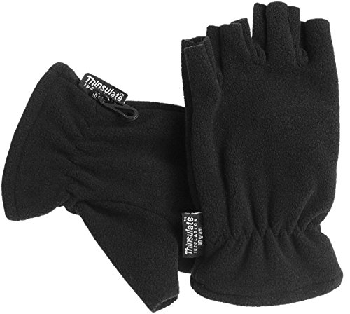 Harrys-Collection Gefütterter Fleecehandschuh mit Thinsulate ohne Finger, Farben:schwarz, Handschuhgröße:S/M