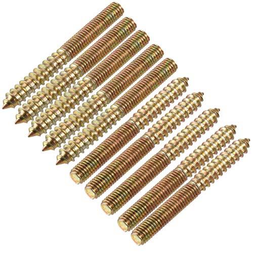 DealMux Pernos de suspensión M8 Longitud 3'(75 mm) Pernos de doble cabeza Tornillo autorroscante 8 mm Junta de madera Patas de muebles 10 piezas