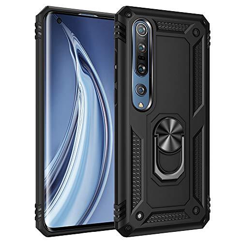 Funda para Xiaomi Mi 10 5G Teléfono Móvil Doble Capa Silicona Bumper Case con 360 Grados Rotaria Ring Holder Protectora Armor Cover [Protección contra Caídas Reforzada] (Negro)