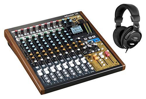 Tascam Model 12 Analogmischpult Set (10-Kanal-Analogmischpult mit eingebautem 12-Spur-Recorder und USB-Audiointerface inkl. Kopfhörer)