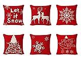 6 Stück Weihnachten Kissenbezug,Kissenbezug Frohe Weihnachten Dekorative,Weihnachten kissen,Rentier...