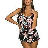 WIN.MAX Traje de Baño en Dos Piezas Sexy Mujer Tankini Vest + Short de Baño Traje Conjunto de Bañador Swimsuit para el Mar, Playa, Piscina, Fiesta, Vacaciones (Flores & Negro, 36)