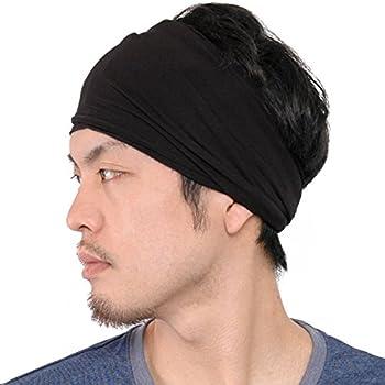 CHARM Mens Womens Elastic Bandana Headband Japanese Long Hair Dreads Head Wrap Black