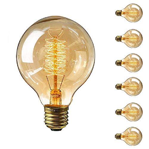 Trounistro Edison Vintage Glühbirne, E27 Edison Glühbirne 40W G80 Vintage Retro Glühbirne Retro Lampe Retro Beleuchtung Dimmbar Edison Glühlampe Vintage Lampe Bulb Ideal für Café Bar usw - 6 Stück