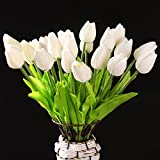 TOOGOO(R) 10 Piezas De Tulipan Blanco De Flor De Latex del Tacto Real Para El Ramo De Boda KC456