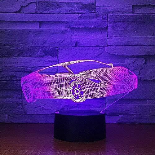Coche deportivo 3D luz 3D noche luz 7 cambio de color LED USB lámpara de escritorio Bluetooth altavoz luz decoración hogar niño regalo