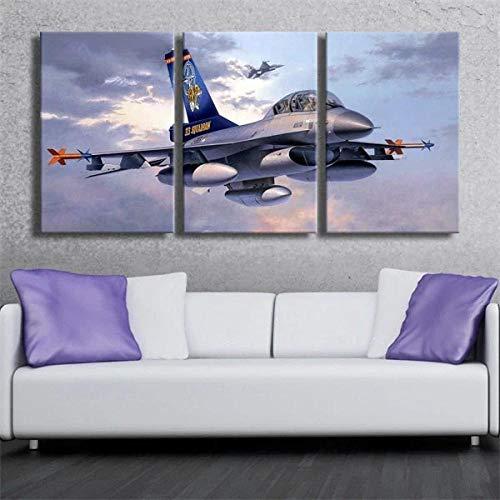 DDSDA Avión Militar Avión F-16 frío Arte Pared Pintura Tríptico Cuadro sobre Lienzo - 3 Piezas Impresión en Lienzo Decoración del Hogar Total 150X70CM