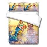 PANDAWDD Baumwolle Bettwäsche Farbe Cartoon Meerjungfrau Microfaser Reißverschluss230cmX220cm