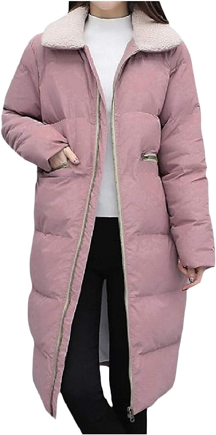 Coolhere Womens Quilted Long Style Autumn Winter Lamb Collar Anorak Jacket Outwear