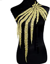 1pcs Golden Embroidery Long Peacock Feather Motif Venise Lace Collar Supplies Women DIY Manual Lace Fabric Trim Crafts