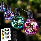 LED Lichterkette Außen Innen Bunt, G40 Lichterkette Außen Strom, 7 Modus 16 Farben Wasserdicht IP65 Glühbirne mit Fernbedienung für Halloween Deko Weihnachtsdeko Hochzeit Balko Garten Party (30+2)