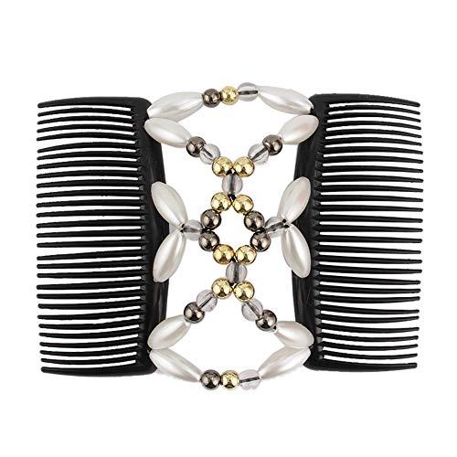 Korne Der Frauen Haarkämme Magie-elastische Haar-clips Stretchy Haare Kämmen Doppel Clips Für Badende Frauen Haarspange Frisur (weiß)