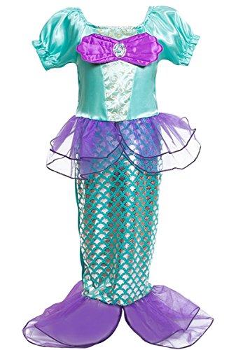 Kosplay Mädchen Kosplay Pailletten kleine Meerjungfrau Kostüm Prinzessin Kleid Kostüme Eiskönigin Prinzessin Kostüm 140 Style 1