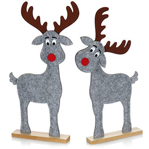 com-four® 2X Expositor Decorativo para Navidad - Reno de Fieltro con Base de Madera Estable - Figura de Reno como decoración navideña [la selección varía] (02 Reno 54cm Gris)