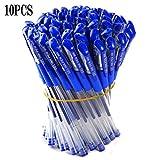0.5mm Bolígrafos de Gel Pluma de Gel Papelería Bolígrafos de Tinta Gel Suministros Escuela de la Oficina Azul (10 piezas)