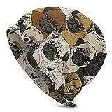 xiuginFU Gorro de PuntoImagen de Pug, Perro y Papel Pintado para Dormir Sombrero de algodón Suave Beanie Street Dancer Cap Watch Hat