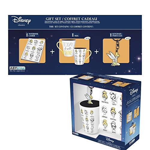 ABYstyle - Disney - Peter Pan - Geschenk Box - Tinkerbell - Tasse 320 ml + Schlüsselanhänger + Notizbuch